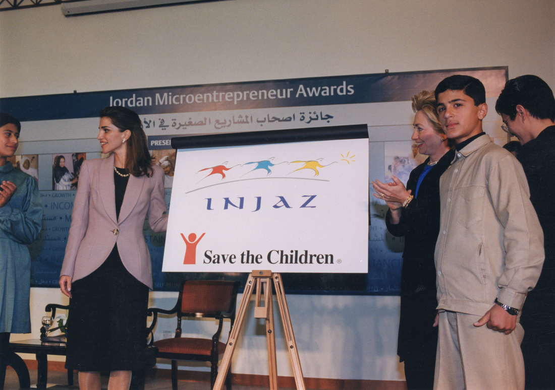 Her Majesty Queen Rania and First Lady Hilary Clinton inaugurate the winning INJAZ branding design by Creations.