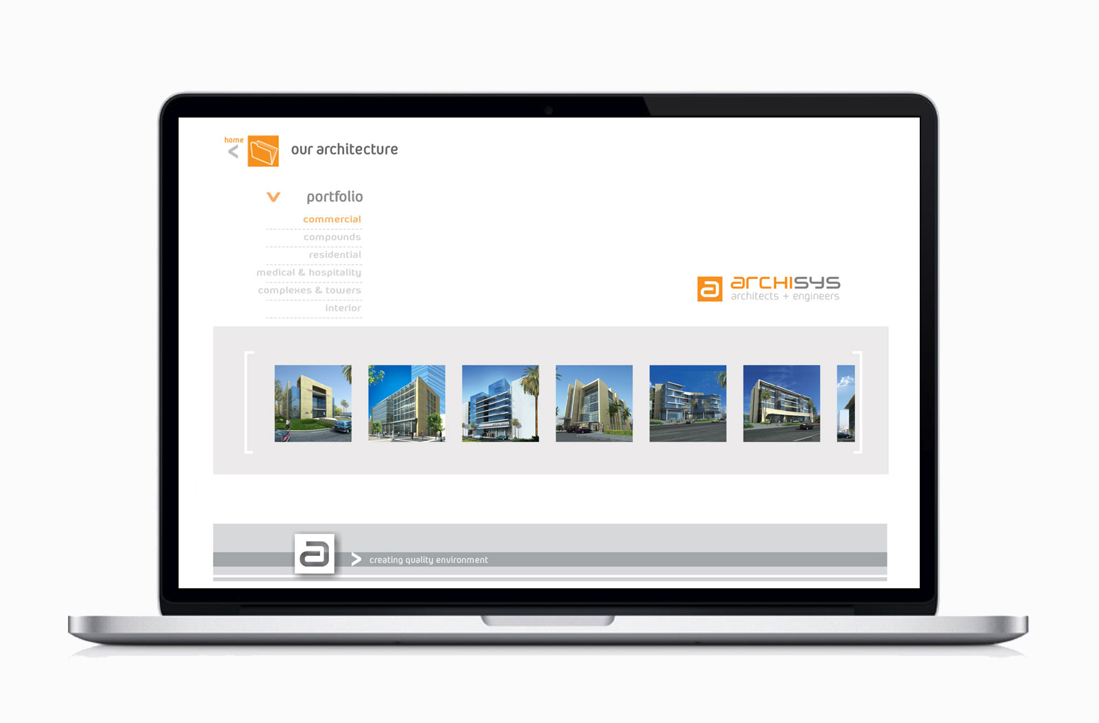 Portfolio page in Archysis website designed by Creations