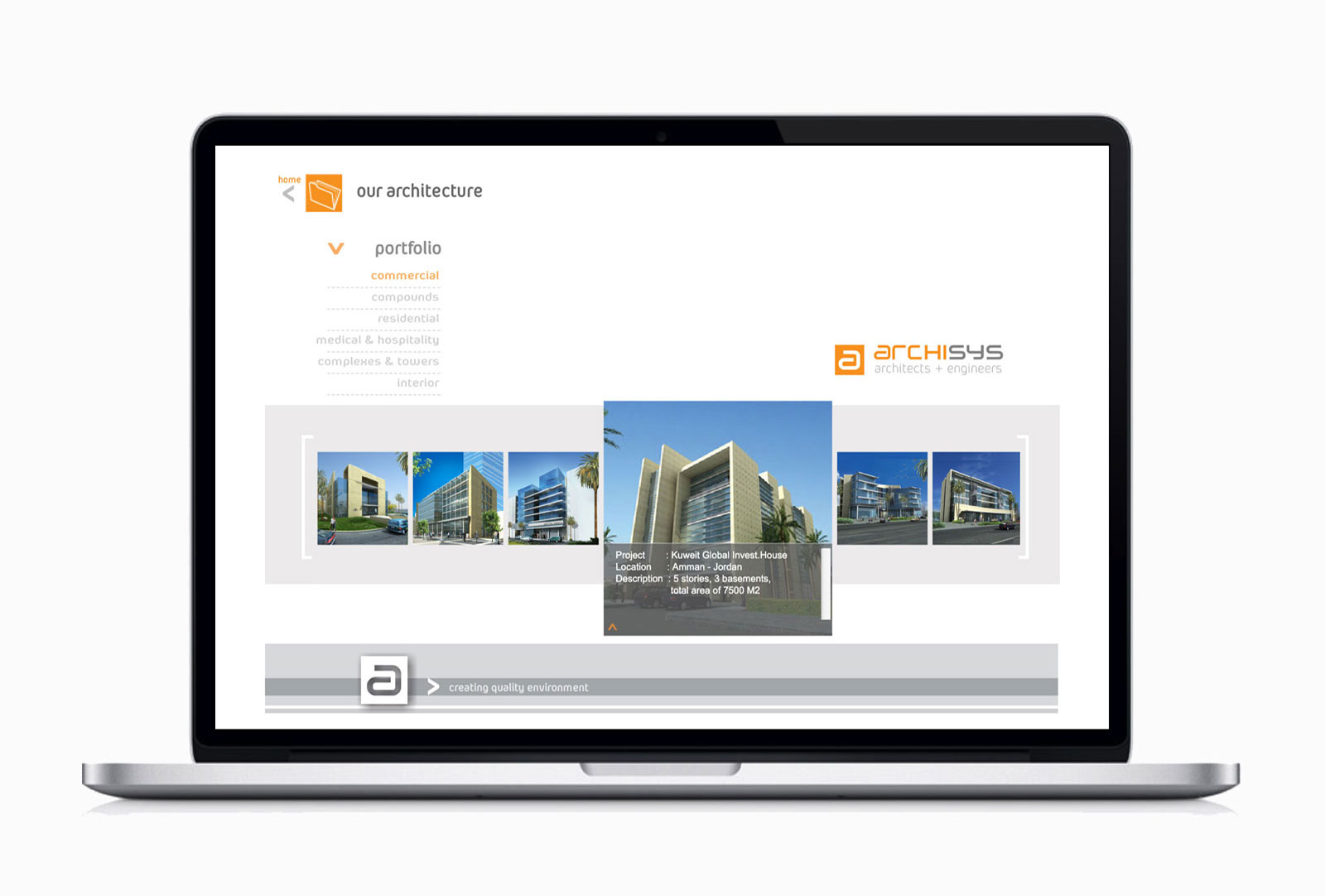 Website design for Archysis (engineering consulting firm in Amman) showing project description page