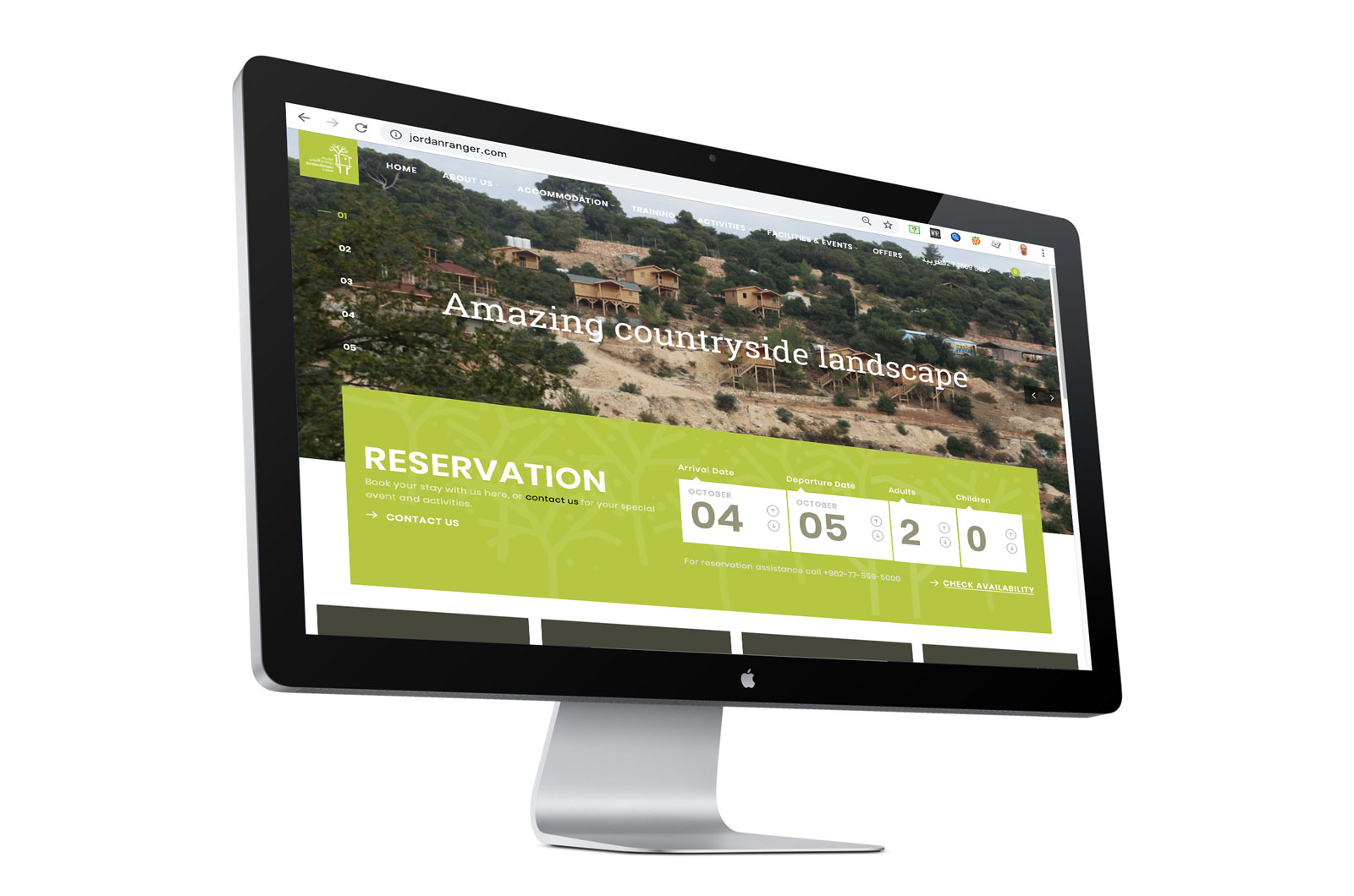 Jordan Ranger Camp website and booking engine, designed by Creations.