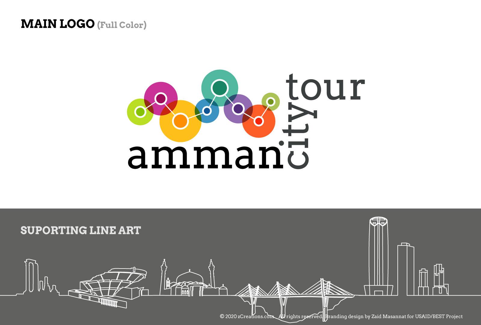 Amman City Tour branding design by Zaid Masannat - Supporting Line Art